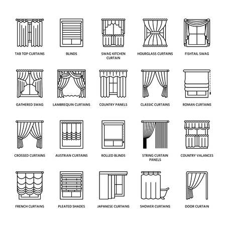 Window curtains, shades line icons. Various room darkening decoration, lambrequin, swag, french curtain, blinds and rolled panels. Interior design thin linear signs for house decor shop.