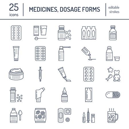 薬、剤形、線のアイコンです。薬局薬物、タブレット、カプセル、錠剤、抗生物質、ビタミン、鎮痛剤、エアゾール スプレーです。ドラッグ ストア