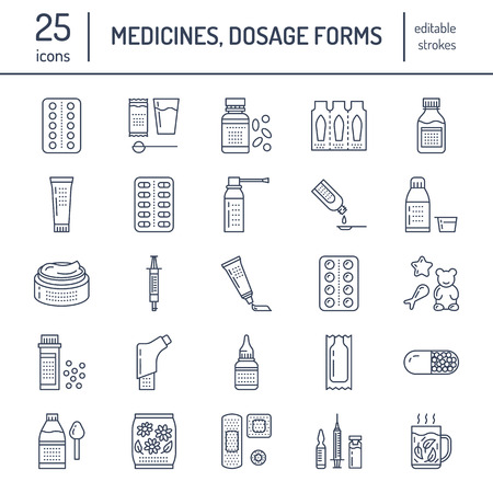 Medicines, dosage forms line icons. Pharmacy medicaments, tablet, capsules, pills, antibiotics, vitamins, painkillers, aerosol spray. Medical threatment health care thin linear signs for drug store Vectores