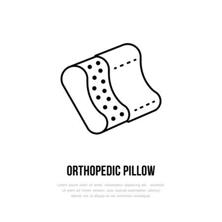 ergonomic: Orthopedic pillow icon, line logo. Flat sign for ergonomic healthy sleeping.