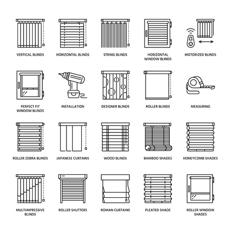 wood blinds: Window blinds, shades line icons. Various room darkening decoration, roller shutters, roman curtains, horizontal and vertical jalousie. Interior design thin linear signs for house decor shop.