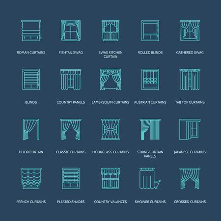 cortinas de la ventana, las cortinas se alinean los iconos. Decoración Otros sala de oscurecimiento, lambrequines, swag, cortina francés, persianas y paneles laminados. diseño de interiores signos lineales finas para la tienda de decoración de la casa.