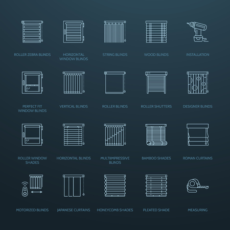 wood panel: Window blinds, shades line icons. Various room darkening decoration, roller shutters, roman curtains, horizontal and vertical jalousie. Interior design thin linear signs for house decor shop.