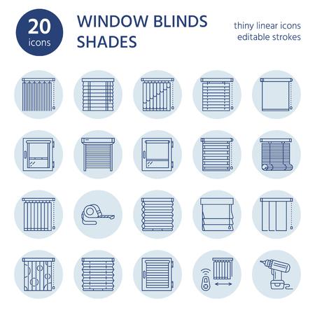 窓のブラインド、陰線のアイコン。さまざまな部屋の装飾、シャッター、カーテン、水平および垂直方向のブラインドを暗くなります。インテリア