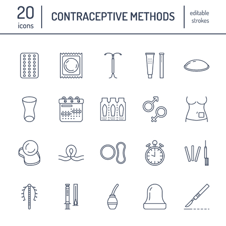 suppositories: Contraceptive methods line icons.