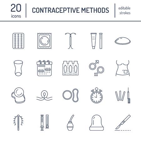 Línea de métodos anticonceptivos iconos. Ilustración de vector