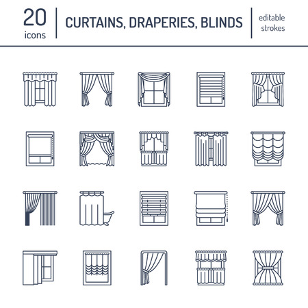 Window curtains, shades line icons. Various room darkening decoration, lambrequin, swag, french curtain, blinds and rolled panels.