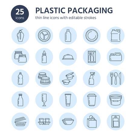プラスチック包装、使い捨て食器ライン アイコン。容器、ボトル、パケット、キャニスター、プレート、カトラリー。