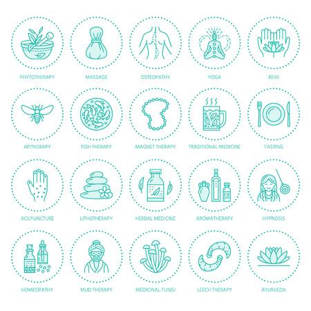 Alternatieve geneeskunde lijn pictogrammen. Natuurgeneeswijze, traditionele behandeling, homeopathie, osteopathie, kruidenvis en bloedzuigertherapie. Dunne lineaire tekens voor gezondheidszorgcentrum. Blauwe kleur.