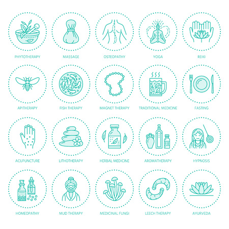 Alternative medicine line icons. Naturopathy, traditional treatment, homeopathy, osteopathy, herbal fish and leech therapy. Thin linear signs for health care center. Blue color. Ilustração
