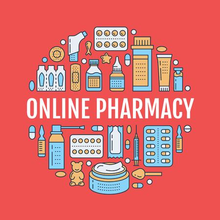 医療、薬局ポスター テンプレート。ベクトル薬物ラインのアイコンは、剤形のタブレット、カプセル、錠剤のイラスト。薬抗生物質、ビタミン。テ