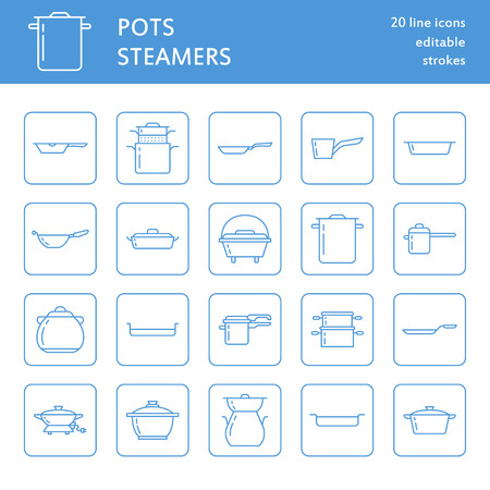saute: Pot, pan and steamer line icons. Restaurant professional equipment signs. Kitchen utensil - wok, saucepan, eathernware dish. Thin linear signs for commercial cooking store. Outline symbols blue color.