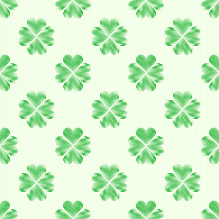 lucky clover: Clover leaf embroidery floral background. Green on white irish vector seamless pattern for saint patricks day decoration. Illustration