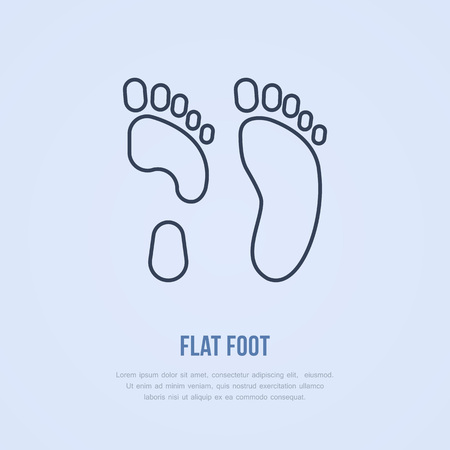Flatfoot icon, line logo. Flat sign for orthopedic clinic or medical equipment shop.