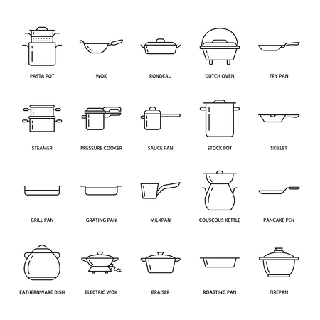 Pot, pan and steamer line icons. Restaurant professional equipment signs. Kitchen utensil - wok, saucepan, eathernware dish. Thin linear signs for commercial cooking store. Фото со стока - 77257103