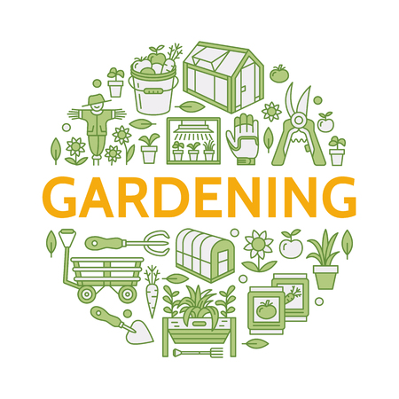 Gardening, planting horticulture colored banner with vector line icon. Garden equipment, organic seeds, green house, pruners, tools. Vegetables, flower cultivation poster with place for text. Illustration