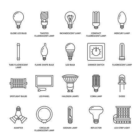 電球フラット ライン アイコン。Led ランプ タイプ、蛍光、フィラメント、ハロゲン、ダイオード、その他の照明。アイデア コンセプト、電気店の薄