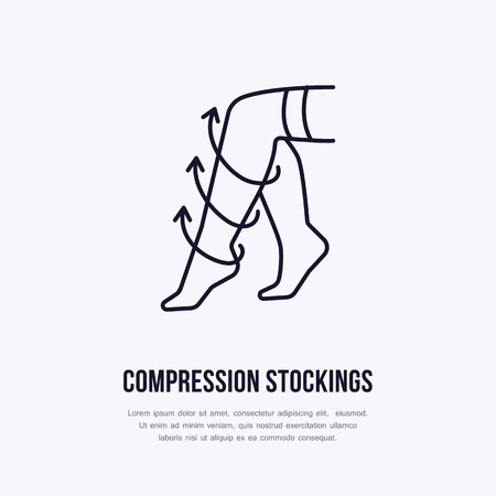 Compression stockings icon, line logo. Flat sign for surgery rehabilitation equipment shop.