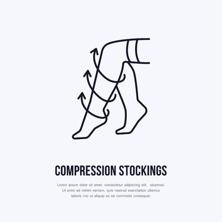 Icono de medias de compresión, línea de logotipo. Signo plano para la tienda de equipos de rehabilitación quirúrgica.