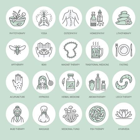 Iconos de línea de medicina alternativa. Naturopatía, tratamiento tradicional, homeopatía, osteopatía, pez herbal y terapia de sanguijuelas. Delgadas señales de color verde lineal para el centro de salud.