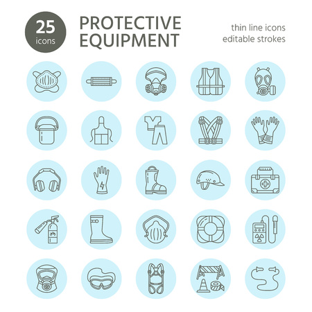 Personal protective equipment line icons. Gas mask, ring buoy, respirator, bump cap, ear plugs and safety work garment. Health protection thin linear signs. Vettoriali