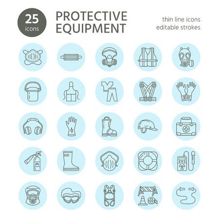 Protezione individuale icone apparecchiature di linea. Maschera antigas, boa di anello, respiratore, berretto urto, tappi per le orecchie e abbigliamento sicurezza sul lavoro. Tutela della salute sottili segni lineari.