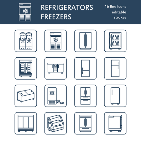 Refrigerators flat line icons. Fridge types, freezer, wine cooler, commercial major appliance, refrigerated display case. Thin linear signs for household equipment shop.