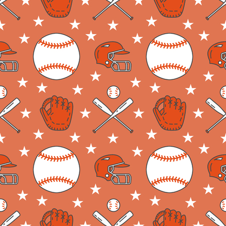 Baseball, softball sport game vector seamless pattern, background with line icons of balls, player, gloves, bat, helmet.  イラスト・ベクター素材