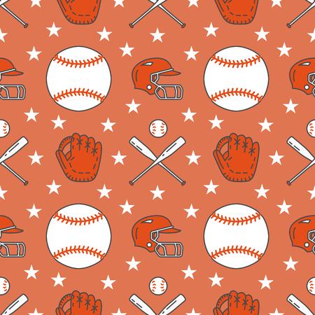 Baseball, softball sport game vector seamless pattern, background with line icons of balls, player, gloves, bat, helmet. Иллюстрация