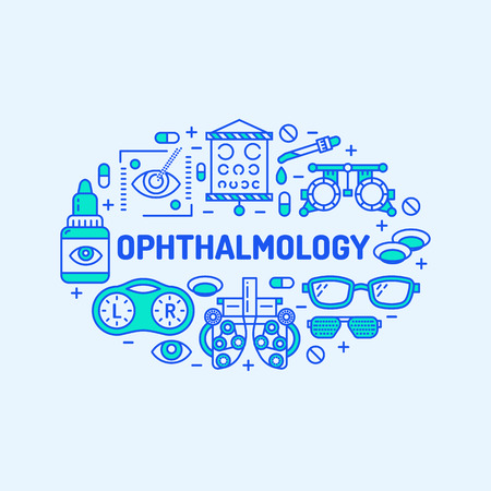 oculist: Ophthalmology, medical banner illustration. Eyes health care vector line icons of optometry equipment, contact lenses, glasses. Healthcare brochure, poster design. Blue background.