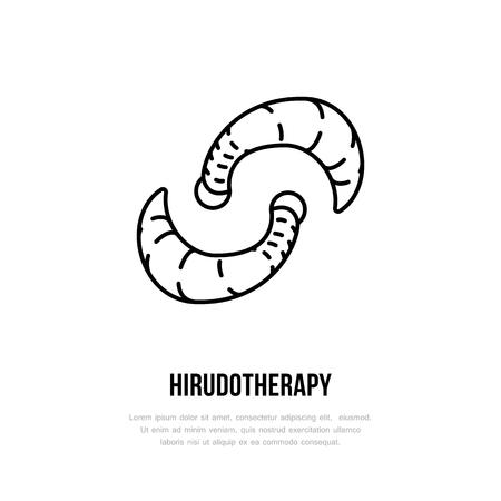 Leech therapy vector line icon. Hirudotherapy flat logo. Alternative medicine. Illustration
