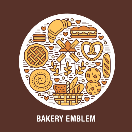 Bakery, confectionery poster template. Vector food line icons, circle colored illustration of sweets, pretzel, croissant, muffin pastry, cupcake, pie, mill. Bread house products banner