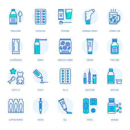 Medicines, dosage forms line icons. Pharmacy medicaments, tablet, capsules, pills, antibiotics, vitamins, painkillers, aerosol spray. Medical threatment health care thin linear signs for drug store Illustration