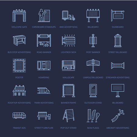 lightbox: Outdoor advertising, commercial and marketing flat line icons Illustration