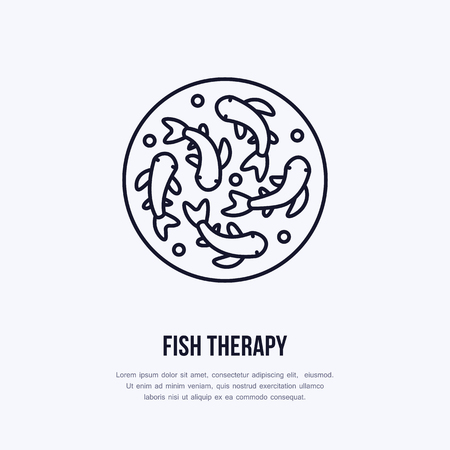Fish therapy vector line icon. Spa peeling service flat logo. Natural skin treatment. Stock Illustratie