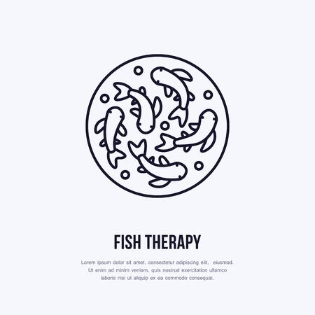 Vissen therapie vector lijn icoon. Spa peeling service plat logo. Natuurlijke huidbehandeling.