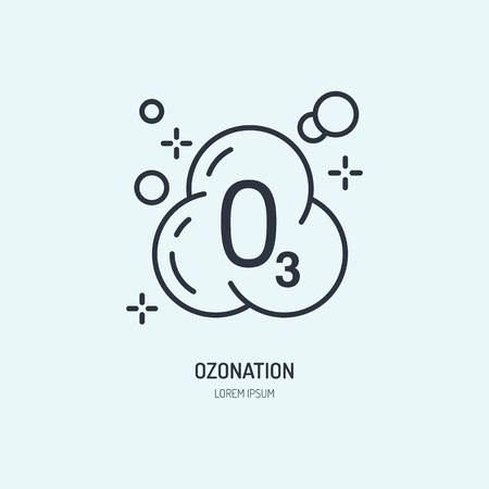 オゾン分子フラット ライン アイコン。ドライ クリーニング サービス服オゾンのベクトル記号。