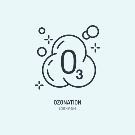 Ozon molecule flat line icon. Vector sign of clothes ozonation in dry cleaning services. Иллюстрация