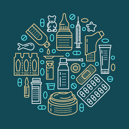 Medical, drugstore poster template. Vector medicament line icons, illustration of dosage forms - tablet, capsules, pills. Medicines antibiotics vitamins, painkiller, aerosol spray. Healthcare banner. Illustration