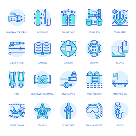 Scuba diving, snorkeling line icons. Spearfishing equipment - mask tube, flippers, swim suit, diver. Water sport, summer activity thin linear signs, blue color.