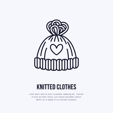Illustration of woolen hat. Knitted clothing shop line logo. Vector flat sign for atelier or garment shop.