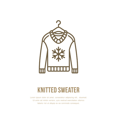 jersey: Illustration of woolen sweater. Knitted clothing shop line logo. Vector flat sign for atelier or garment shop. Illustration