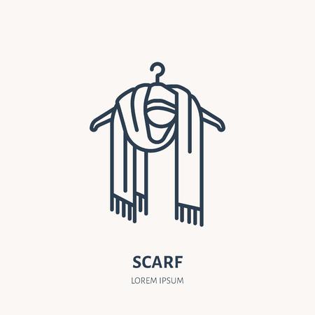 Illustration of woolen scarf. Knitted clothing shop line logo. Vector flat sign for atelier or garment shop. Illustration
