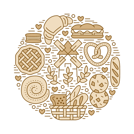 Bakery, confectionery poster template. Vector food line icons, circle illustration of sweets, pretzel, croissant muffin pastry, cupcake, pie, mill. Bread house products banner white background.