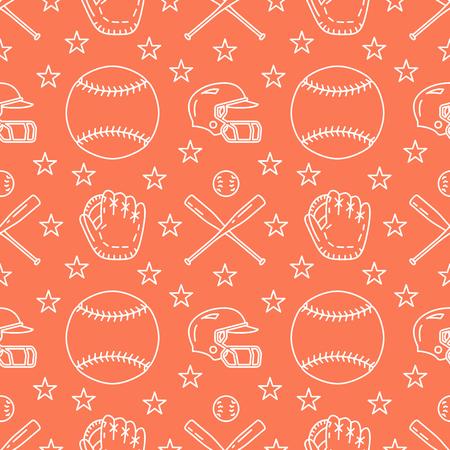 Baseball, softball sport game vector seamless pattern, orange background with line icons of balls, player, gloves, bat, helmet. Flat signs for championship, equipment store. Illustration