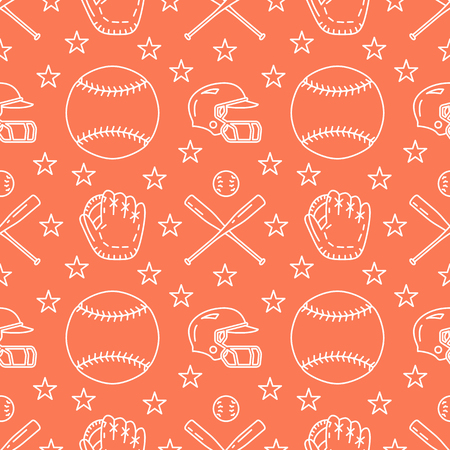 Baseball, softball sport game vector seamless pattern, orange background with line icons of balls, player, gloves, bat, helmet. Flat signs for championship, equipment store. Stock Illustratie