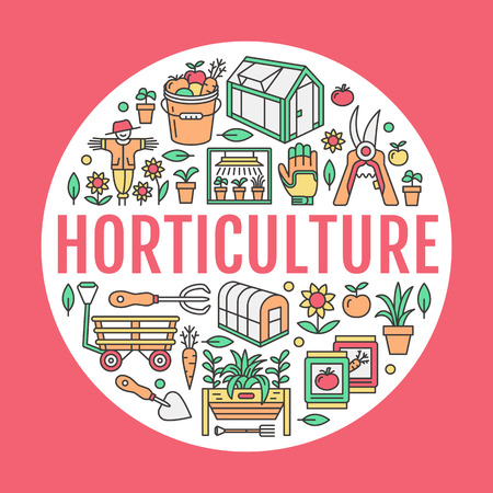 Gardening, planting horticulture banner with vector line icon. Garden equipment, organic seeds, green house, pruners watering can, tools. Vegetables, flower cultivation poster with place for text. Illustration