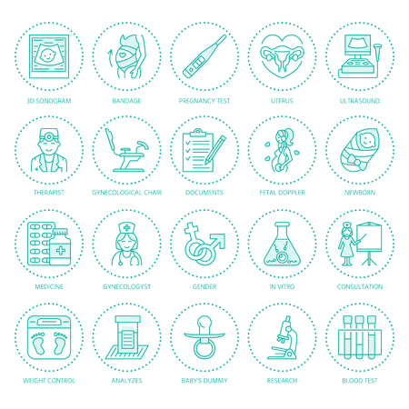 Medical vector line icon of pregnancy and obstetrics. Gynecology elements - chair, tests, doctors, sonogram, baby, pregnancy gadgets. Obstetrics design element for sites, hospitals, clinics.