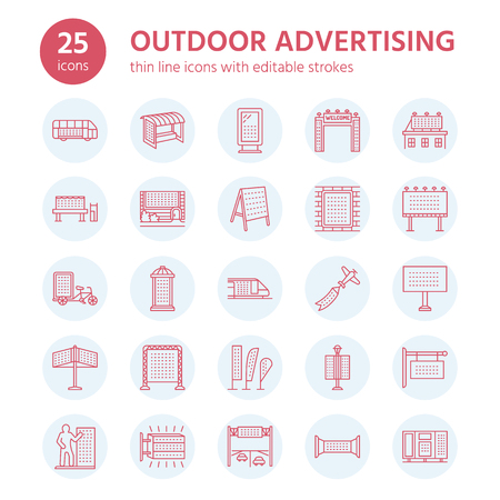 sign post: Outdoor advertising, commercial and marketing flat line icons. Billboard, street signboard, transit ads, posters banner and other promotion design element. Trade objects thin linear sign.