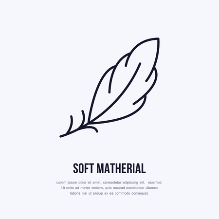 Feather flat line icon. Vector sign for soft, lightweight matherial property.